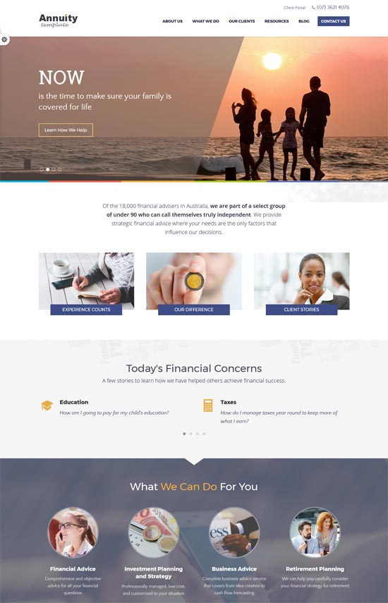 annuity financial advisory html template