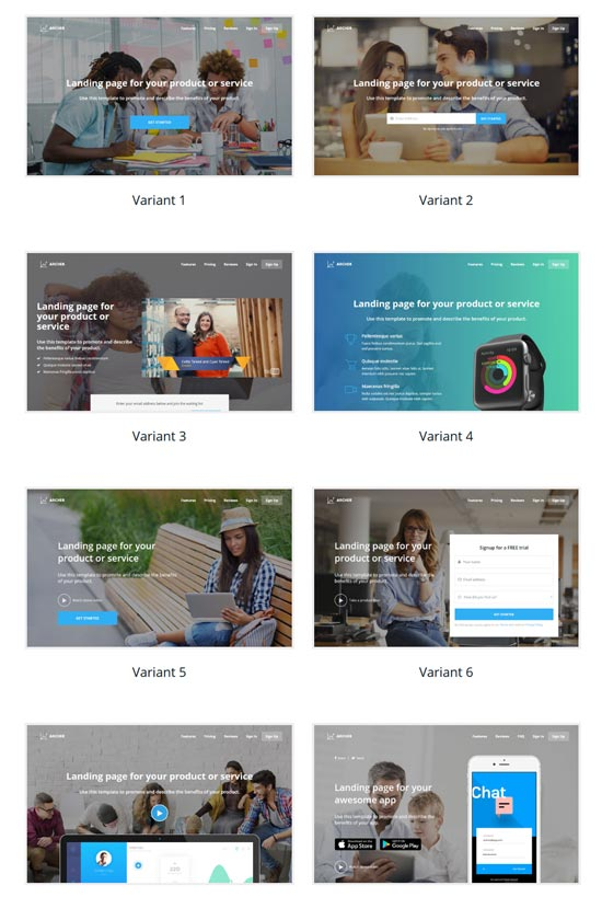 archer landing page WordPress theme