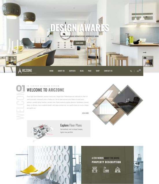 arczone interior design html template
