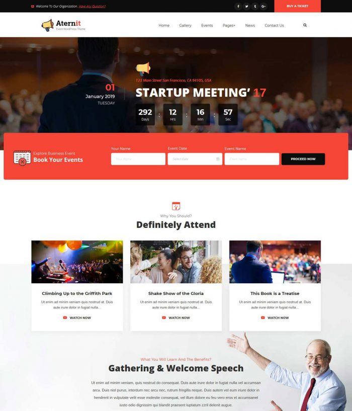 aternit events management wordpress theme