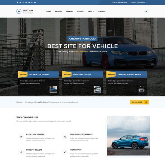 auction car dealer mechanic html template