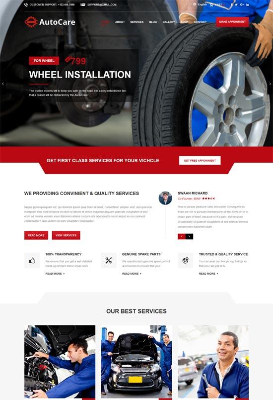 auto care wordpress theme