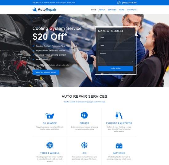 autorepair car repair website template