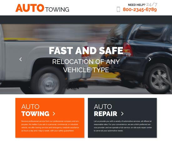 autotowing car WordPress theme