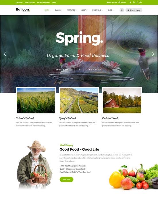balloon organic farm wordpress theme