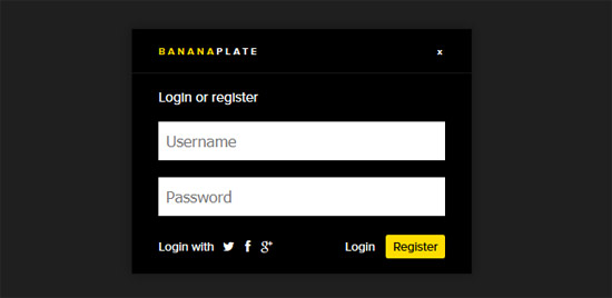 bananaplate login panel
