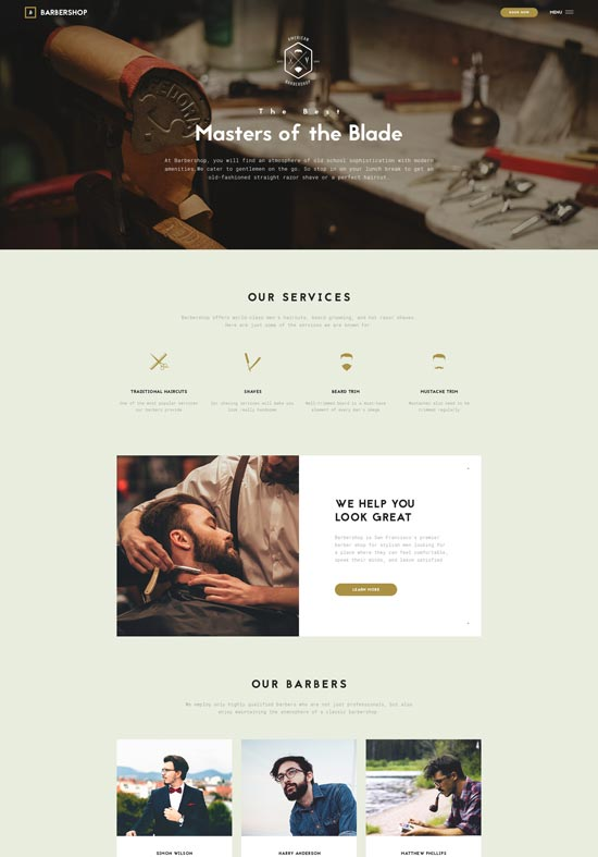 barbershop hair styling website template