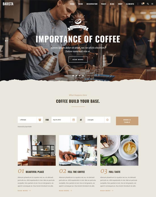 barista cafes coffee wordpress theme