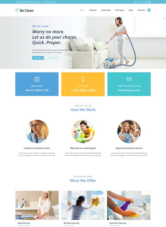 be clean cleaning company WordPress theme