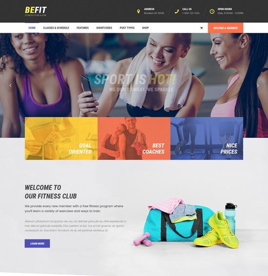 be fit fitness WordPress theme