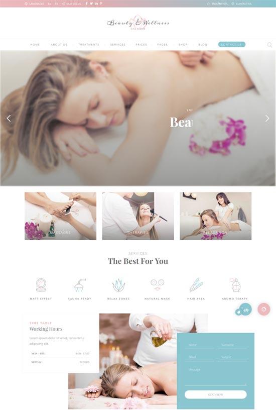 beauty pack wellness spa massage salons wp