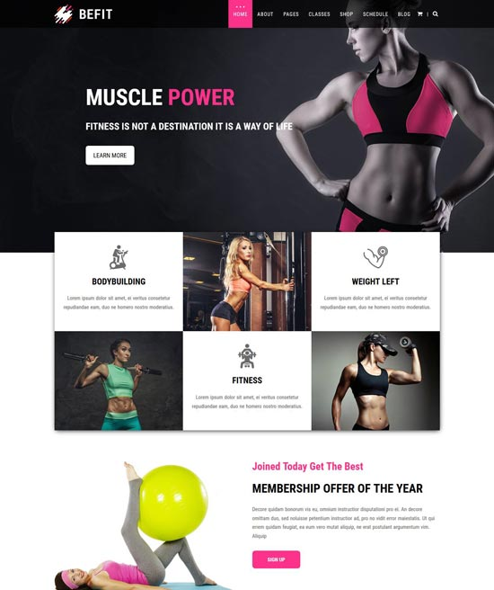 befit gym fitness html5 template