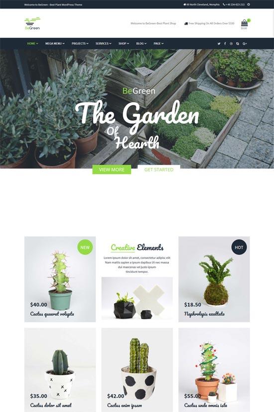 begreen landscaping gardening wordpress theme