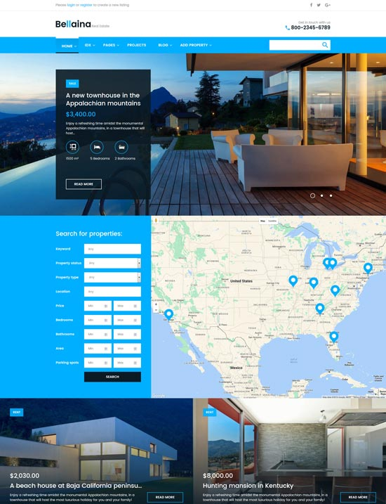 bellaina real estate WordPress theme