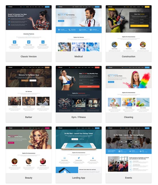 besmart landing page WordPress theme