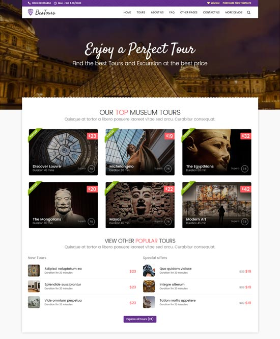 bestours tours travel html template