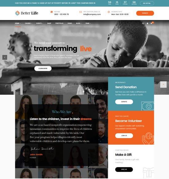 betterlife charity WordPress theme