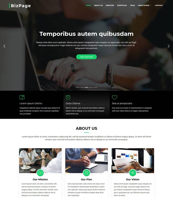 bizpage one page bootstrap business template