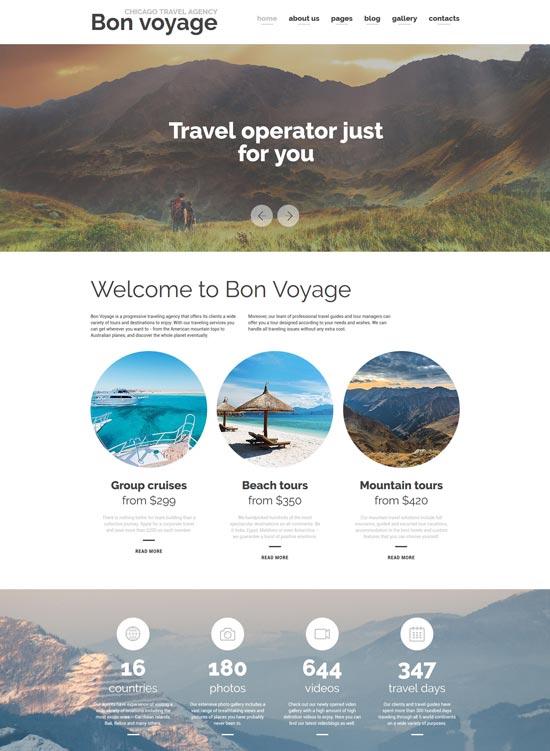 bon voyage travel agency joomla template