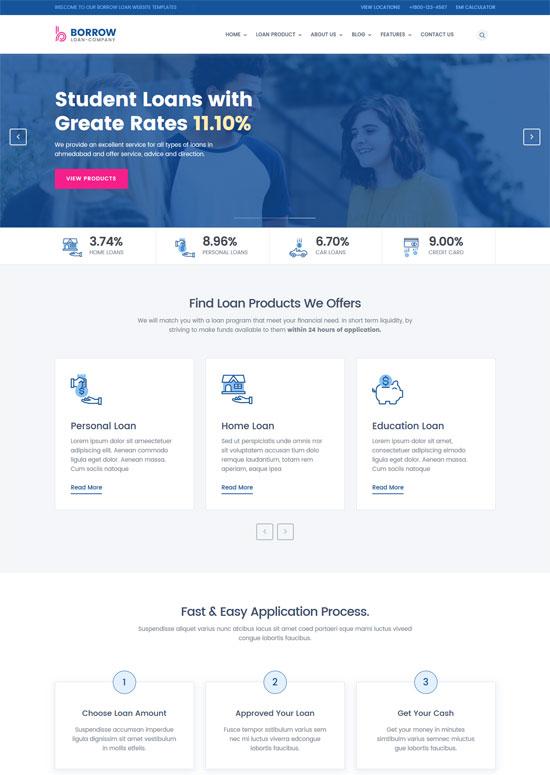 borrow loan company website templates