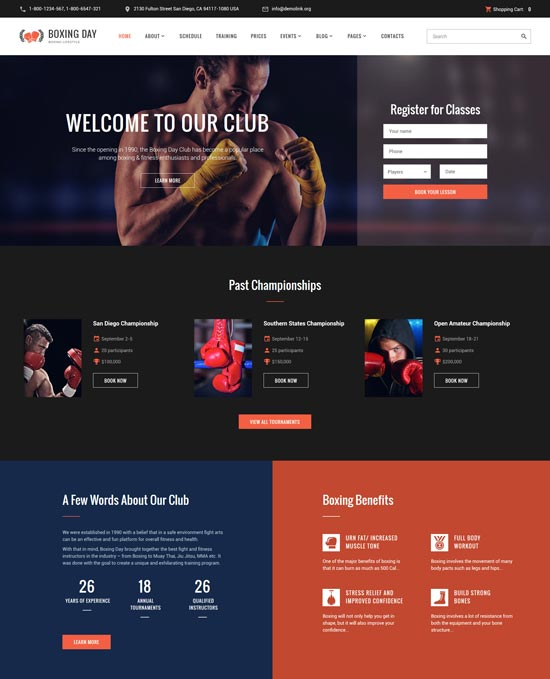 boxing club responsive website template