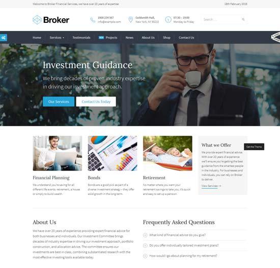broker finance WordPress theme