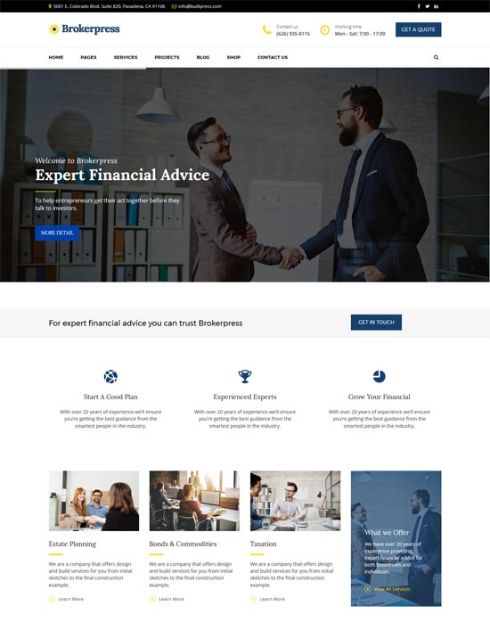 brokerpress business financial wordpress theme