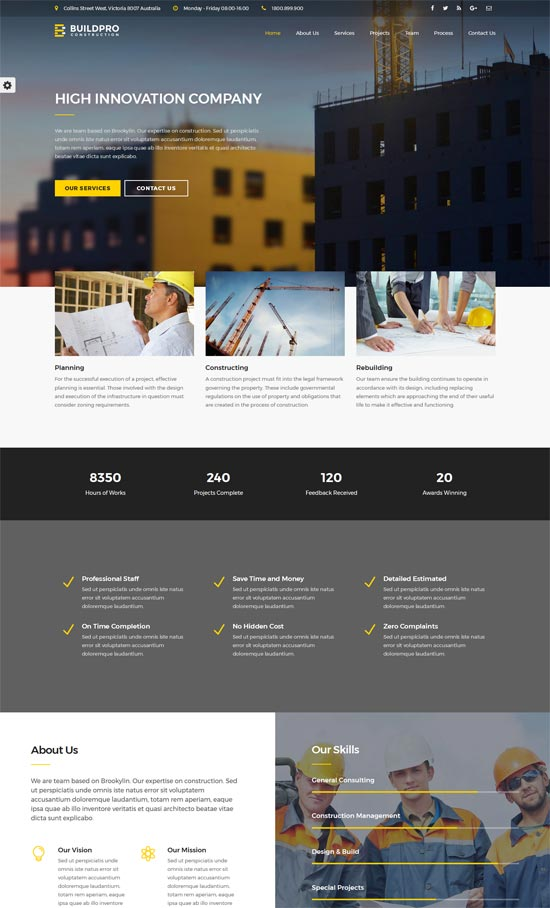 buildpro business building construction wordpress theme