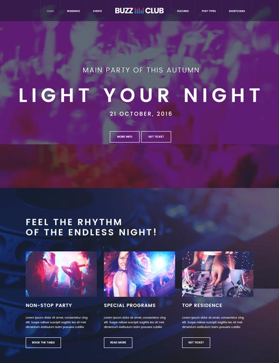 buzz club night club WordPress theme