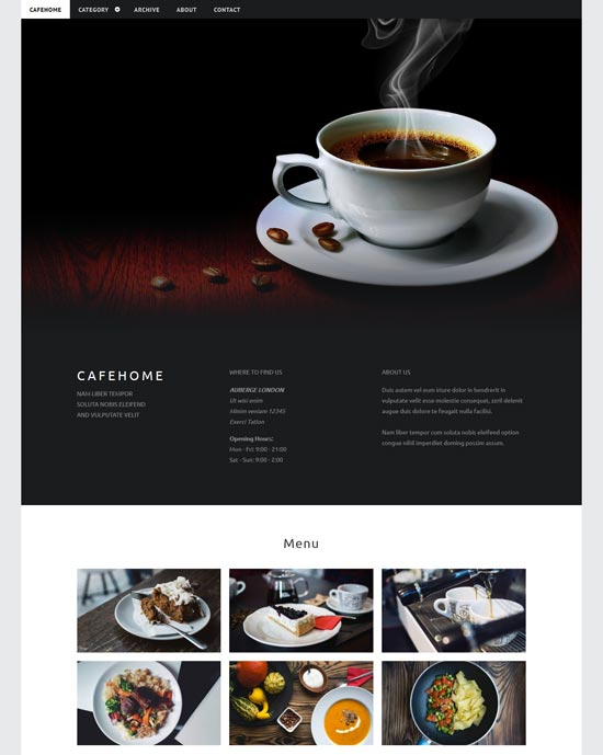 cafehome cafe html5 template