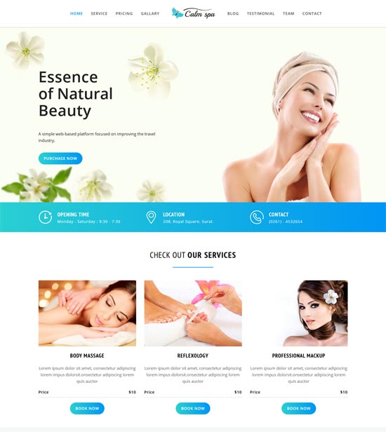 calm spa html responsive template