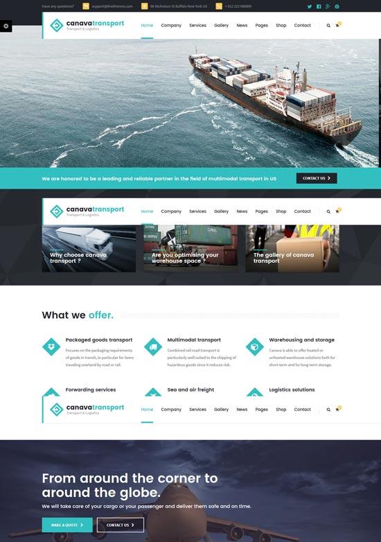 canava logistics WordPress theme