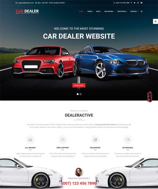 car dealer automotive responsive html5 template