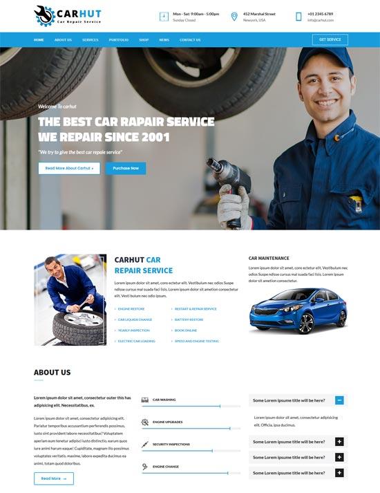 car hut auto mechanic car repair template