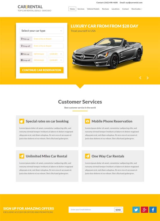 car rental landing page wordpress theme