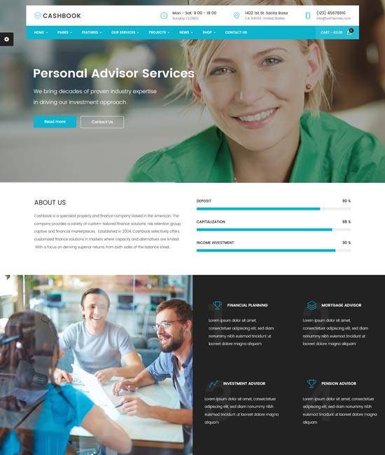 cashbook finance WordPress theme