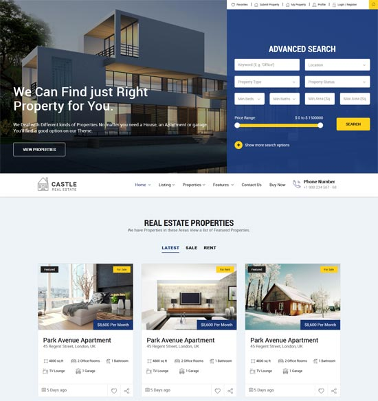 castle real estate html template