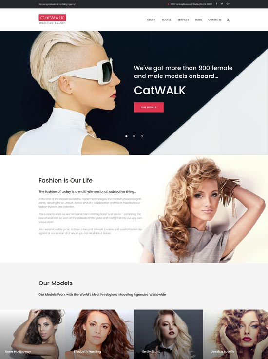 catwalk wordpress fashion modeling agency theme