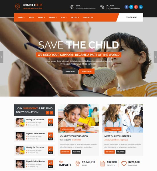 charity club html template