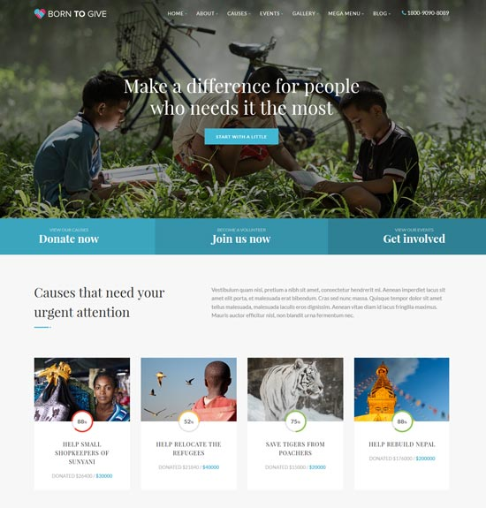 charity crowdfunding html5 template