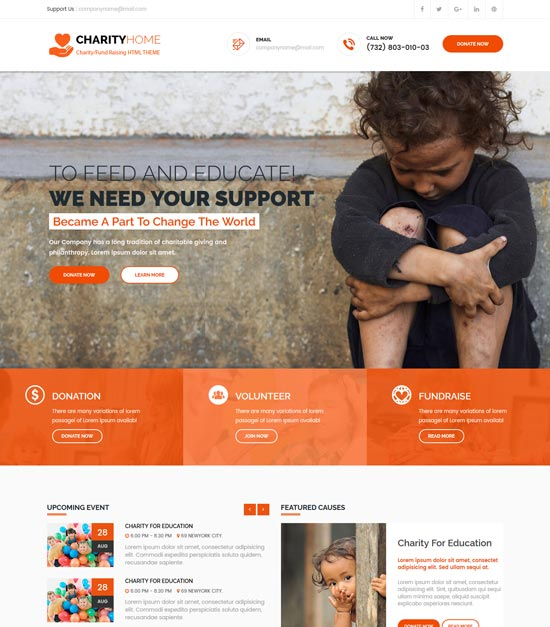 charity home html template