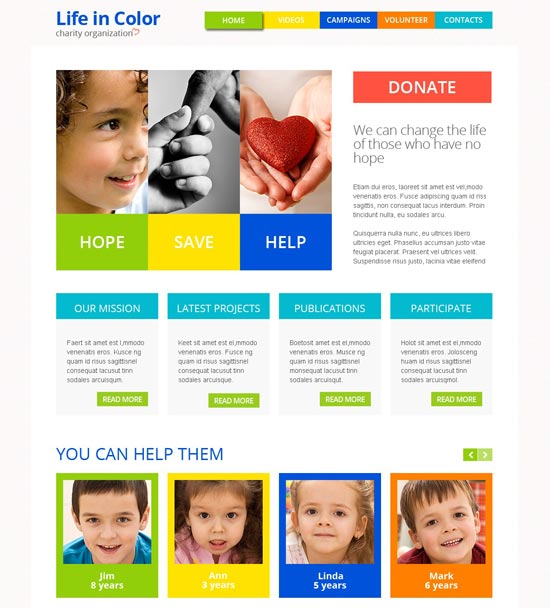 charity site responsive html5 theme