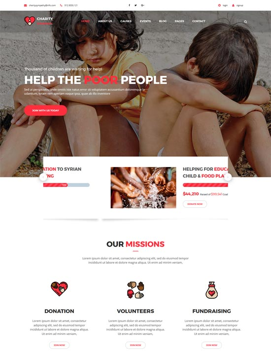 charity sympathy donation html5 template