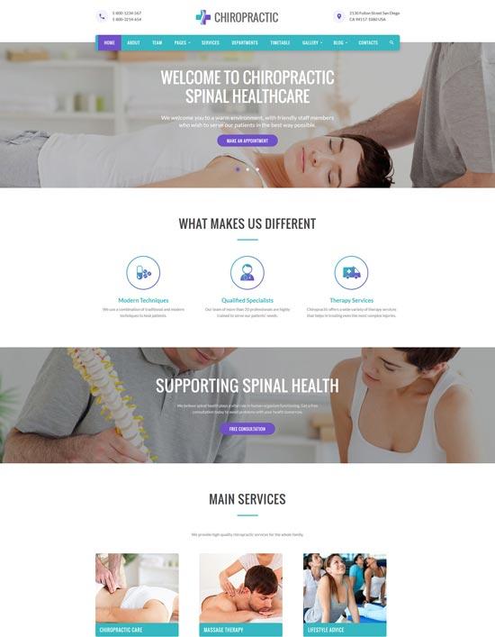 chiropractic medicine website template