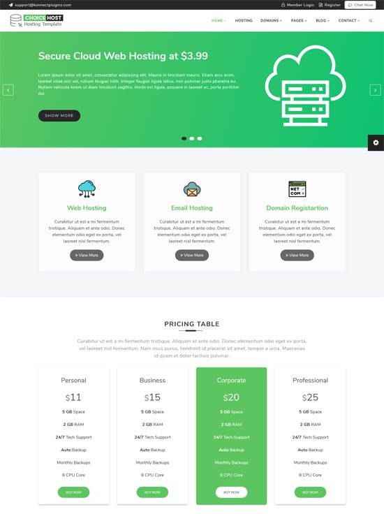 choice hosting services html template