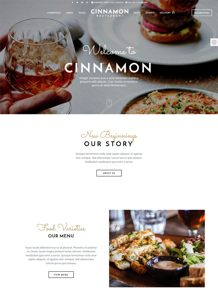 cinnamon restaurant theme wordpress