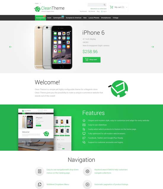clean phone store magento theme