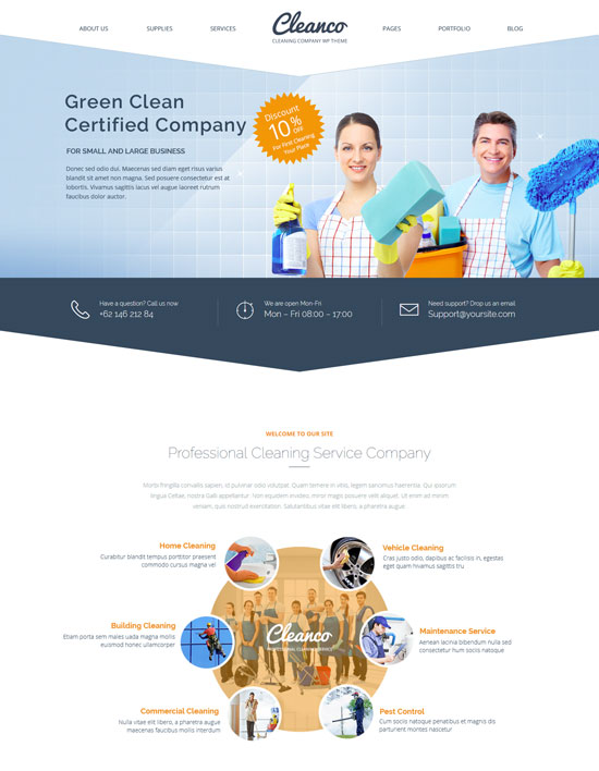 cleanco cleaning home company WordPress theme