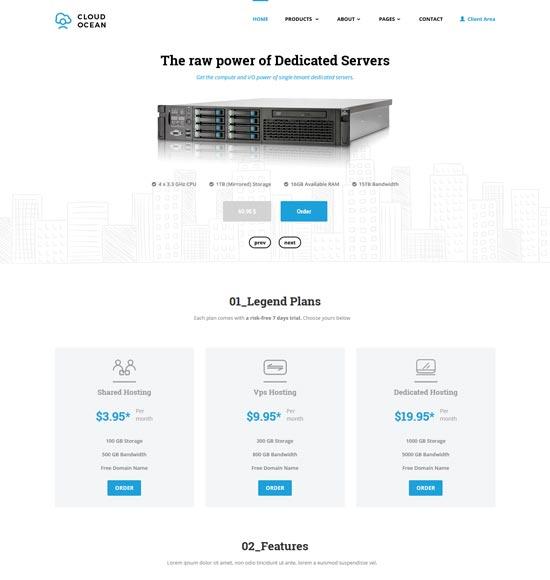 cloudocean responsive hosting template