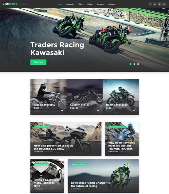 clubstome sport racing WordPress theme